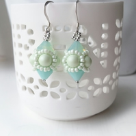 Hand Beaded Earrings with Swarovski Pearls and Crystals in a Pastel Green Theme