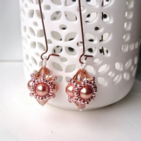Hand Beaded Earrings with Swarovski Pearls and Crystals in a Lt Rose Gold theme