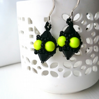 Hand Beaded Earrings with Swarovski Pearls and Crystals in a Neon Yellow theme