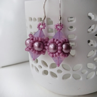 Hand Beaded Earrings with Swarovski Pearls and Crystals in a Powder Pink Theme