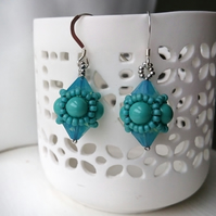 Hand Beaded Earrings with Swarovski Pearls and Crystals in a Jade Theme