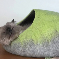 Handmade Felt Cat Cave - Lime Green and Grey - M