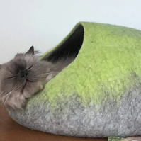 Handmade Felt Cat Cave - Lime Green and Grey - L