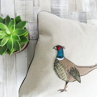 Tweed cushion, Harris Tweed cushion, decorative pillow, green,  pheasant cushion