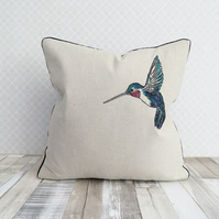 Harris Tweed Hummingbird Bird Cushion