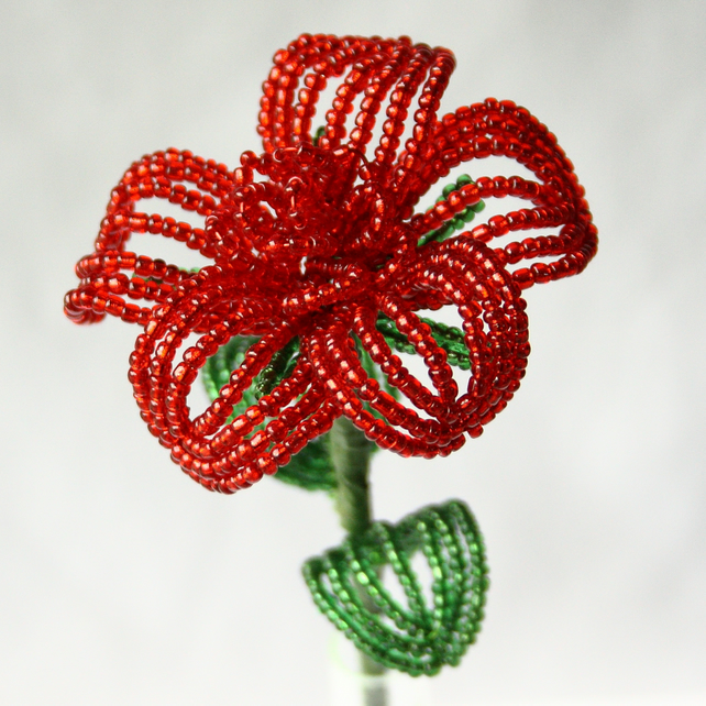 Beaded Valentines Red Rose
