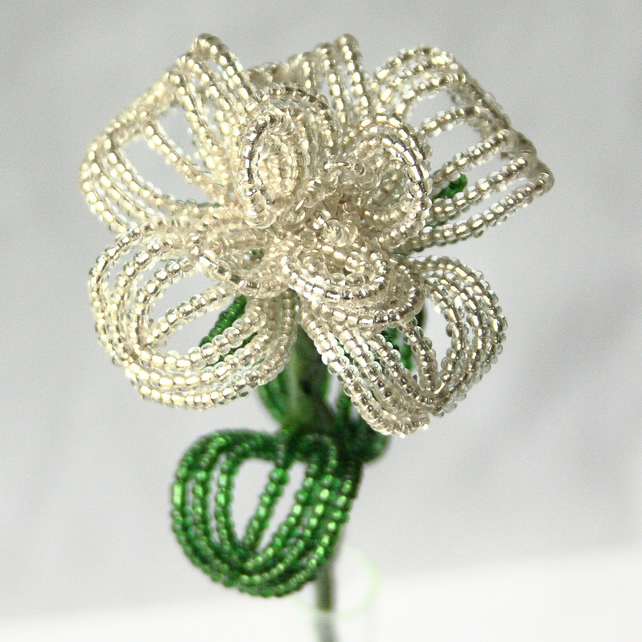 Beaded Valentines White Rose