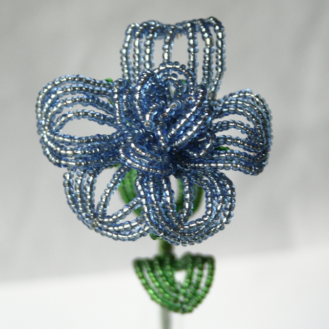 Beaded Valentines Blue Rose
