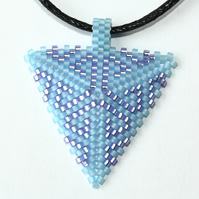 Blue and Purple Beaded Triangle Necklace