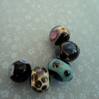 Dark mixed, handmade lampwork beads, set of 5