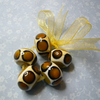 Ochre Yellow, handmade lampwork beads set of 5