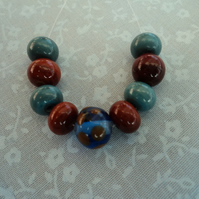 Chocolate & Blue, Handmade lampwork spacer beads set of 9