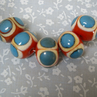 Coral Red Beads with Blue dots, handmade lampwork beads, set of 5