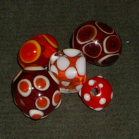 Red Dotty Mixed handmade lampwork beads, set of 5
