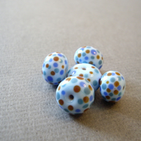 Blue spotty beads, set of 5 handmade lampwork beads