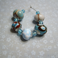 Blue & Brown, handmade lampwork beads, set of 5 with spacers