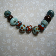 Chocolate & Blue, Handmade lampwork spacer beads set of 11