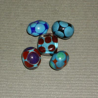 Chocolate & Teal Mixed handmade lampwork beads, set of 5