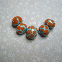 Turquoise Spotty, handmade lampwork beads, set of 5