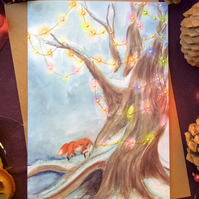 'Fairylight Fox' Handmade Christmas Greetings Card, A6, Blank.