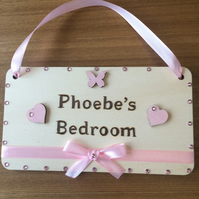 Child's Personalised bedroom door sign. hand written and decorated. Gift
