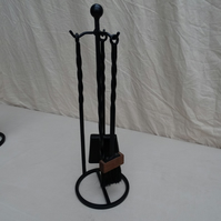 Fireside Small Three Piece Companion set with stand. Brush, Shovel, Poker.