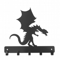 Dragon silhouette hooks. 5 hooks for keys, coats, dog leads, etc