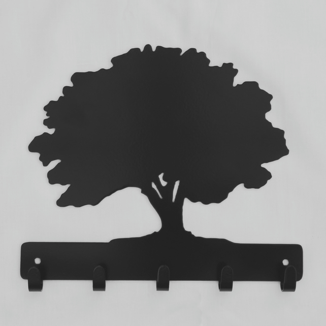 Oak tree silhouette hooks. 5 hooks for keys, coats, dog leads, etc