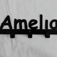 Amelia personalised decorative silhouette hook in black. 5 hooks