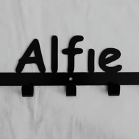 Alfie personalised decorative silhouette hook in black. 5 hooks