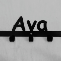 Ava personalised decorative silhouette hook in black. 5 hooks
