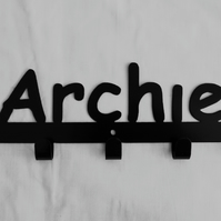 Archie personalised decorative silhouette hook in black. 5 hooks