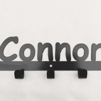 Connor personalised decorative silhouette hook in black. 5 hooks