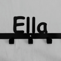 Ella personalised decorative silhouette hook in black. 5 hooks