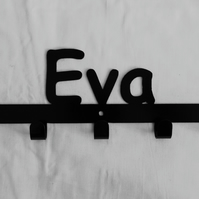 Eva personalised decorative silhouette hook in black. 5 hooks