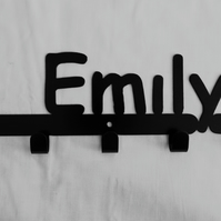 Emily personalised decorative silhouette hook in black. 5 hooks