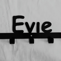 Evie personalised decorative silhouette hook in black. 5 hooks