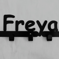 Freya personalised decorative silhouette hook in black. 5 hooks