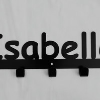 Isabelle personalised decorative silhouette hook in black. 5 hooks