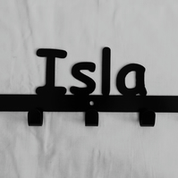 Isla personalised decorative silhouette hook in black. 5 hooks