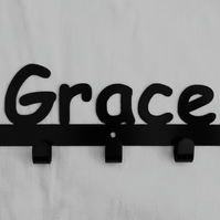 Grace personalised decorative silhouette hook in black. 5 hooks