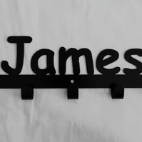 James personalised decorative silhouette hook in black. 5 hooks