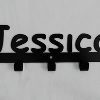 Jessica personalised decorative silhouette hook in black. 5 hooks