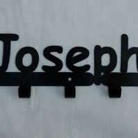 Joseph personalised decorative silhouette hook in black. 5 hooks