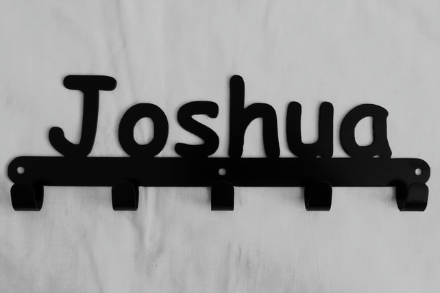 Joshua personalised decorative silhouette hook in black. 5 hooks