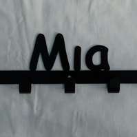 Mia personalised decorative silhouette hook in black. 5 hooks