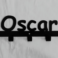Oscar personalised decorative silhouette hook in black. 5 hooks