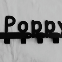 Poppy personalised decorative silhouette hook in black. 6 hooks