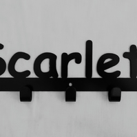 Scarlett personalised decorative silhouette hook in black. 5 hooks