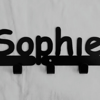 Sophie personalised decorative silhouette hook in black. 5 hooks